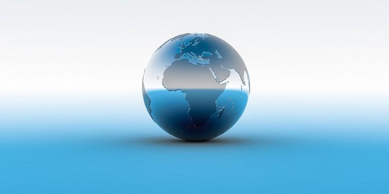 3D Globe on Light Blue Surface