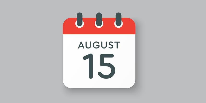 August 15th on Calendar