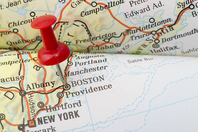 Boston Pinned on Map