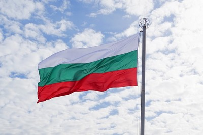 Bulgaria Flag Against Cloudy Sky