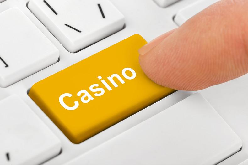 Casino Button on White Keyboard