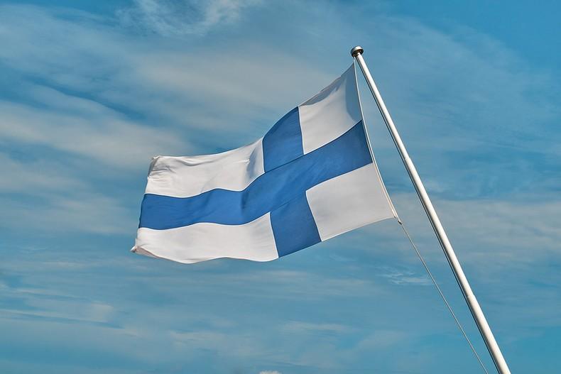 Finland Flag Against Blue Sky