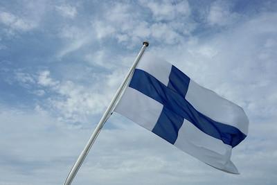 Finland Flag Against Cloudy Sky