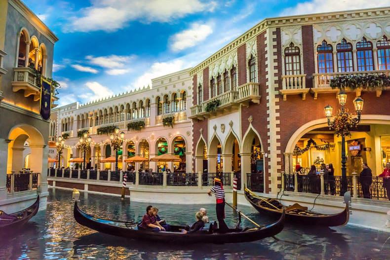 Gondolas at the Venetian in Las Vegas