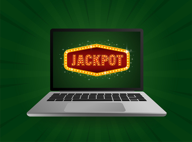 Jackpot Logo on Laptop Screen