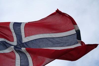 Norway Flag Against Cloudy Sky