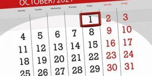 October 1st on Calendar