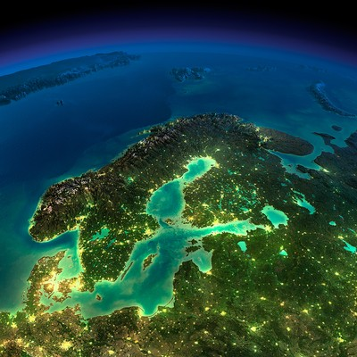 Scandinavia at Night from Space