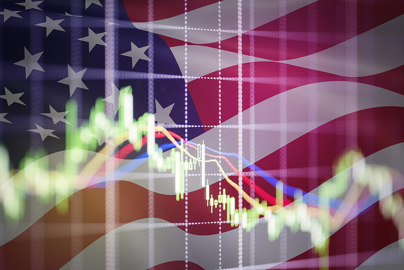 Stock Market Graph Against USA Flag