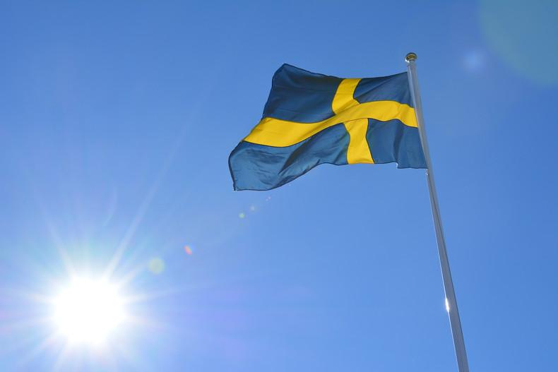 Swedish Flag Against Sunny Sky
