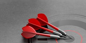 Three Red Darts on Target