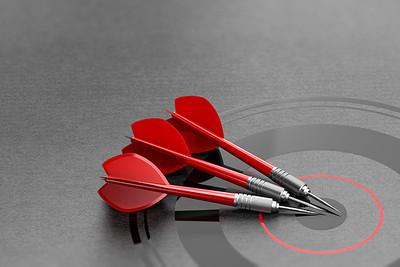 Three Red Darts on Target
