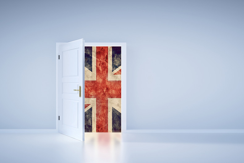 UK Flag Behind Door