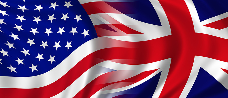 USA and UK Merging Flags