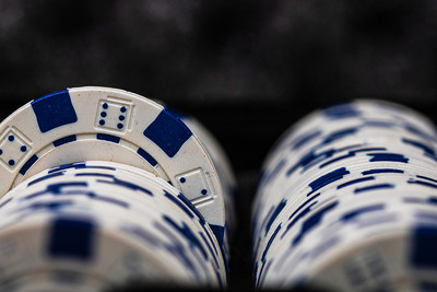 White and Blue Casino Chips